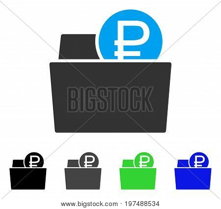 Rouble Wallet flat vector pictogram. Colored rouble wallet gray, black, blue, green icon versions. Flat icon style for application design.