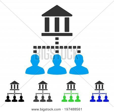Bank Building Client Links flat vector pictogram. Colored bank building client links gray, black, blue, green pictogram variants. Flat icon style for graphic design.
