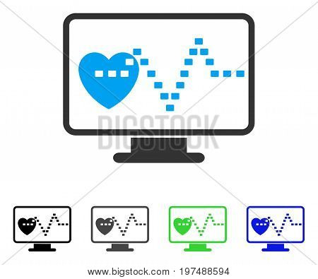 Cardio Monitoring flat vector pictograph. Colored cardio monitoring gray, black, blue, green pictogram variants. Flat icon style for application design.