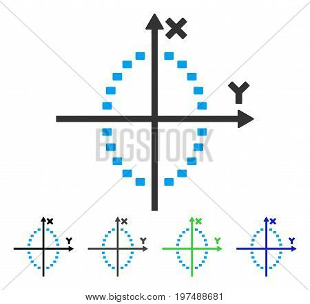 Dotted Ellipse Plot flat vector pictogram. Colored dotted ellipse plot gray, black, blue, green icon versions. Flat icon style for application design.