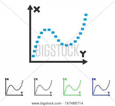 Dotted Function Graph flat vector pictogram. Colored dotted function graph gray, black, blue, green pictogram versions. Flat icon style for graphic design.