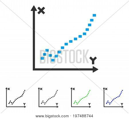 Dotted Function Plot flat vector icon. Colored dotted function plot gray, black, blue, green icon variants. Flat icon style for web design.
