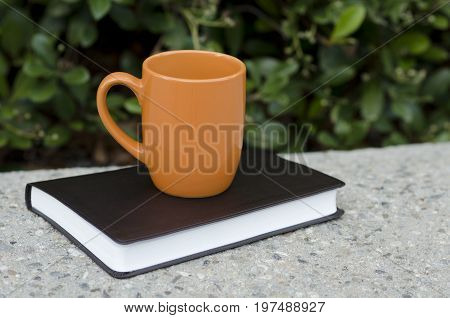 Orange mug and black leather bound book outside on a cement ledge with bushes in the background.