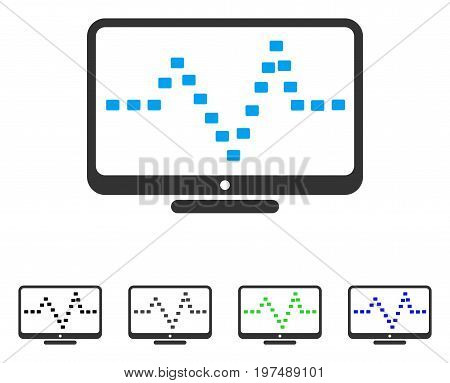 Monitor Dotted Pulse flat vector illustration. Colored monitor dotted pulse gray, black, blue, green icon variants. Flat icon style for graphic design.