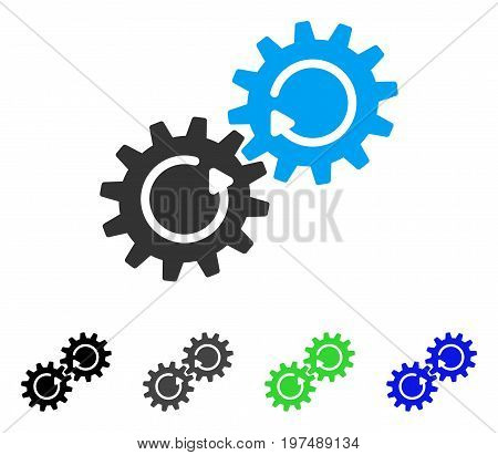 Gear Mechanism Rotation flat vector illustration. Colored gear mechanism rotation gray, black, blue, green pictogram versions. Flat icon style for web design.