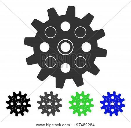 Gearwheel flat vector icon. Colored gearwheel gray, black, blue, green pictogram versions. Flat icon style for application design.