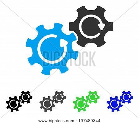 Gears Rotation flat vector illustration. Colored gears rotation gray, black, blue, green pictogram versions. Flat icon style for graphic design.