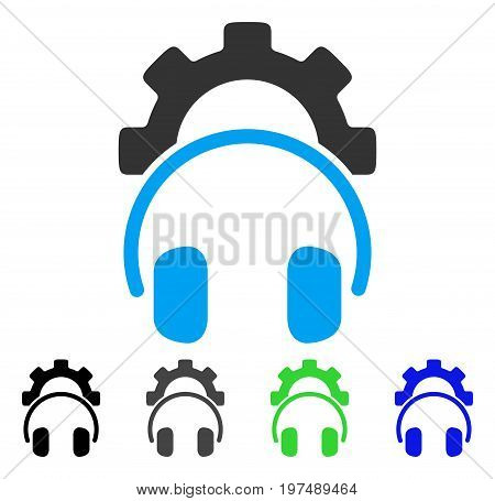 Headphones Configuration Gear flat vector pictogram. Colored headphones configuration gear gray, black, blue, green icon variants. Flat icon style for web design.
