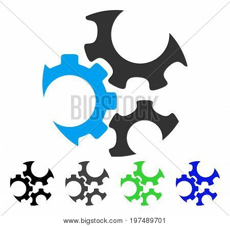 Mechanics Gears flat vector icon. Colored mechanics gears gray, black, blue, green icon versions. Flat icon style for graphic design.
