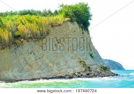 sea cliff isolated on a white background