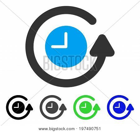 Restore Clock flat vector pictogram. Colored restore clock gray, black, blue, green pictogram versions. Flat icon style for application design.