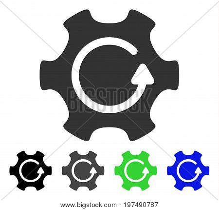 Rotate Gear flat vector pictogram. Colored rotate gear gray, black, blue, green icon variants. Flat icon style for application design.