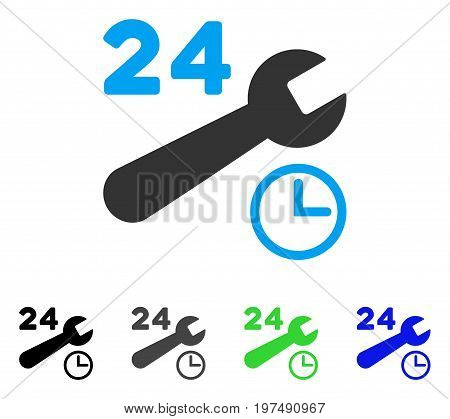 Service Hours flat vector illustration. Colored service hours gray, black, blue, green pictogram versions. Flat icon style for web design.