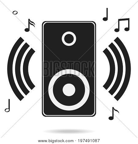 Audio speakers audio speakers icon with shadow music. Flat design vector illustration vector.