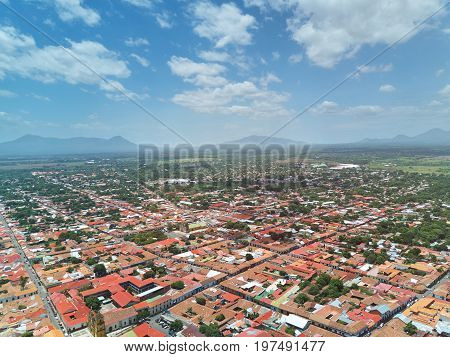 Houses in Leon town in Nicaragua above drone view. Travel destination in Nicaragua
