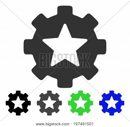 Star Favorites Options Gear flat vector pictogram. Colored star favorites options gear gray, black, blue, green icon versions. Flat icon style for web design.