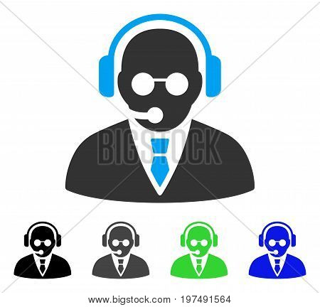 Support Manager flat vector pictogram. Colored support manager gray, black, blue, green pictogram variants. Flat icon style for graphic design.