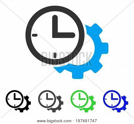 Time Setup Gear flat vector illustration. Colored time setup gear gray, black, blue, green pictogram variants. Flat icon style for graphic design.
