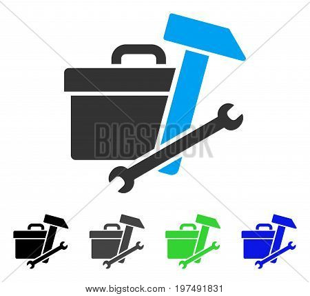Toolbox flat vector icon. Colored toolbox gray, black, blue, green pictogram variants. Flat icon style for application design.