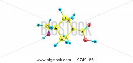 Tranexamic Acid Molecular Structure Isolated On White