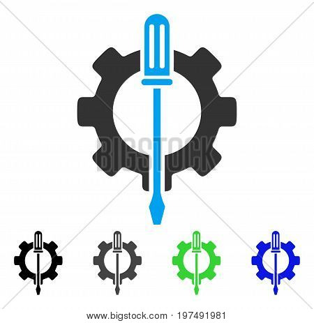 Tuning Options Gear flat vector pictograph. Colored tuning options gear gray, black, blue, green icon variants. Flat icon style for web design.
