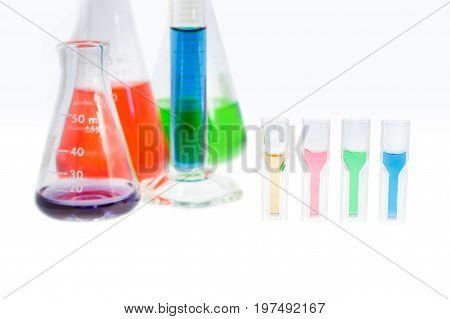 solution sample in plastic cuvette measurement of the absorbance spectrometer