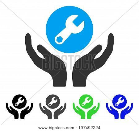Wrench Maintenance flat vector pictograph. Colored wrench maintenance gray, black, blue, green icon versions. Flat icon style for application design.