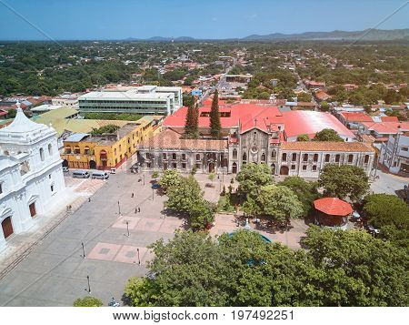 Aerial panorama view of Leon city in Nicaragua. Travel destination in Nicaragua
