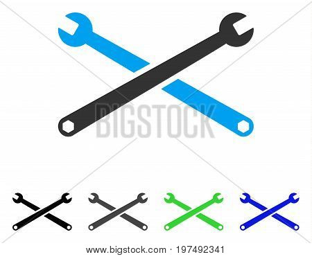 Wrenches flat vector pictograph. Colored wrenches gray, black, blue, green pictogram variants. Flat icon style for web design.