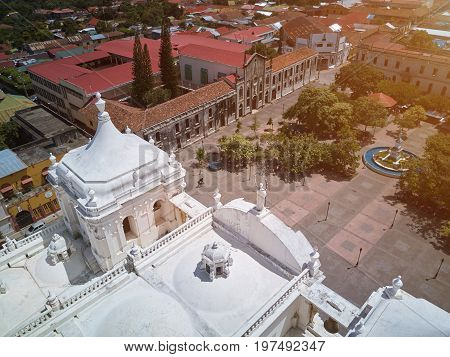 Main square of Leon city in Nicaragua drone view. Historical center of Leon town