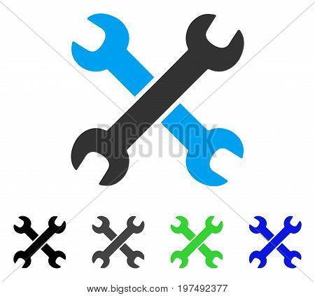 Wrenches flat vector pictograph. Colored wrenches gray, black, blue, green pictogram variants. Flat icon style for graphic design.