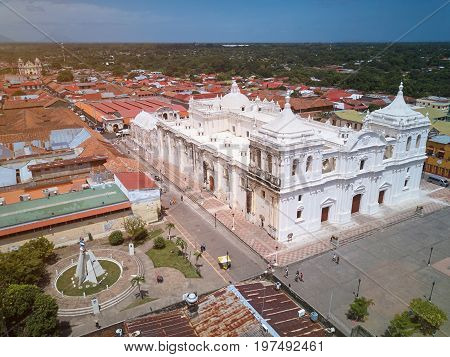 Panorama view of Leon city in Nicaragua. Cityscape of Leon in Nicaragua