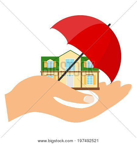 The house is under protection the house on the palm under the umbrella. Flat design vector illustration vector.