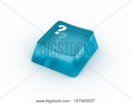 Question symbol on transparent keyboard button. 3D rendering