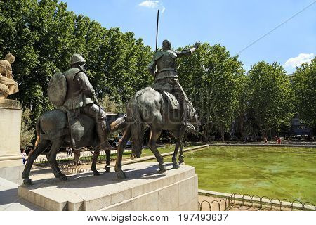 MADRID, SPAIN - MAY 24, 2017: There are sculptures to the famous literary characters Don Quixote and Sancho Panza.