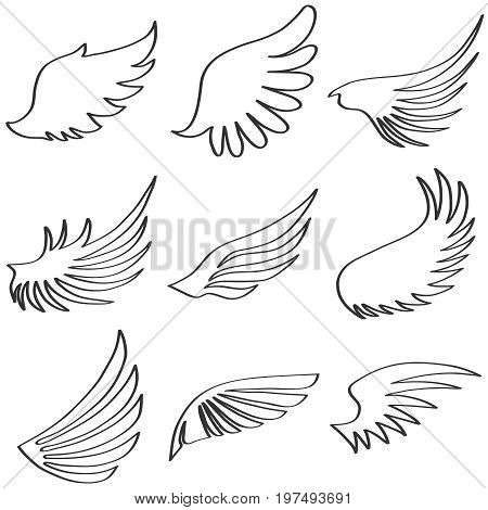 Wings of an angel black and white wings of an angel. Flat design vector illustration vector.