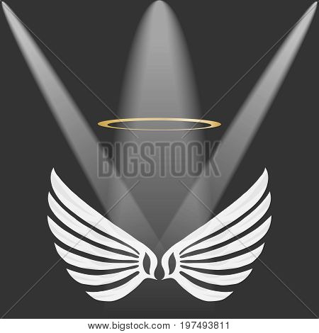Wings of an angel with a golden halo white angel wings on a gray background. Flat design vector illustration vector.
