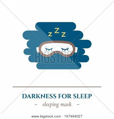 Vector simple flat icon for well healthy night sleep isolated on white background. Sleep glasses mask.