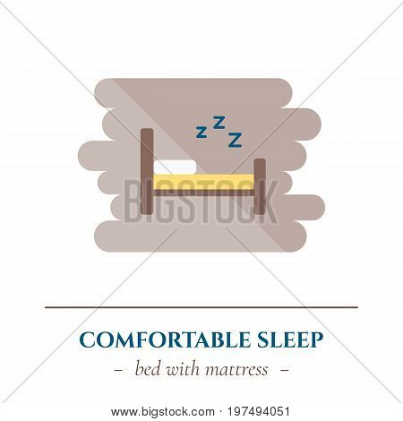 Vector simple flat icon for well healhty night sleep isolated on white background. Sleep single bed for one person