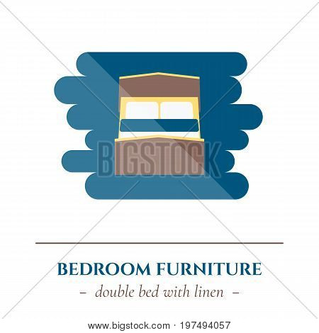 Vector simple flat icon for well healhty night sleep isolated on white background. Sleep double bed for two person