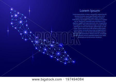 Curacao map of polygonal mosaic lines network rays and space stars of vector illustration.