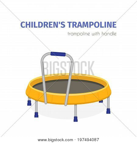 Jumping trampoline vector flat realistic icon. Isolated trampoline for children for fun indoor or outdoor sport fitness jumping