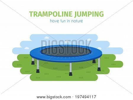 Jumping trampoline vector flat realistic icon. Isolated trampoline for children and adults for fun outdoor fitness jumping