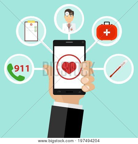 Mobile medicine call the doctor at home medicines a suitcase doctor. Flat design vector illustration vector.