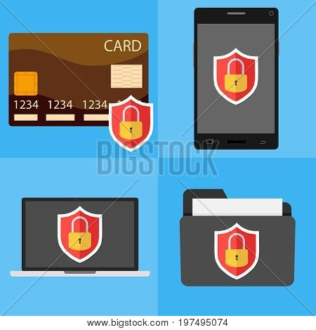 Mobile security laptop security credit card security. Flat design vector illustration vector.