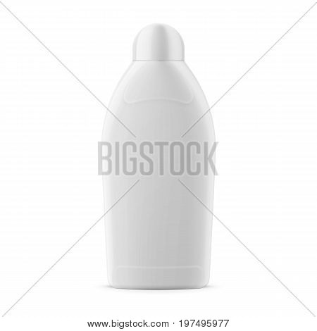 White glossy plastic bottle for liquid laundry detergent, bleach, vanish liquid or fabric softener. 450 ml. Realistic packaging mockup template. Vector illustration.