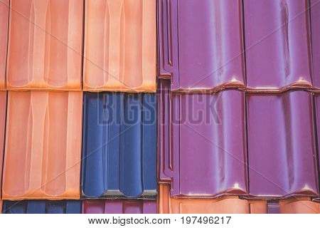 Closeup Of Colored Clay Roof Tiles Background 6