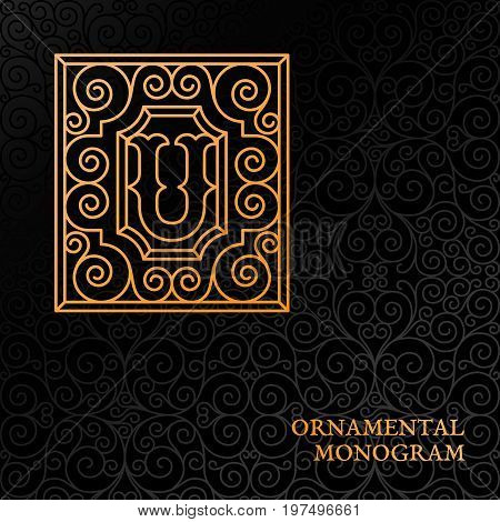 Flourishes luxury elegant ornamental monogram template with letter U in trendy linear style. Vector illustration.