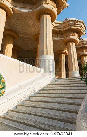 architectural details of park Guell at sunny summer day, Barcelona, Spain