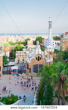 Gaudi bench and cityscape of Barcelona from park Guell, Catalonia Spain